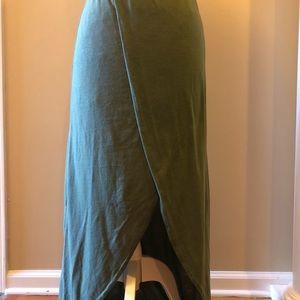 A green wrap skirt